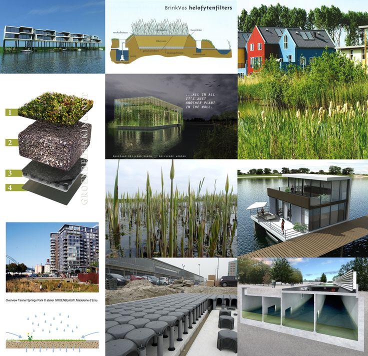 collage van mogelijkheden voor het vasthouden van water.