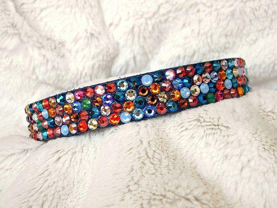 Custom Leather Crystal Rhinestone Pet Collar Magic Carpet w/