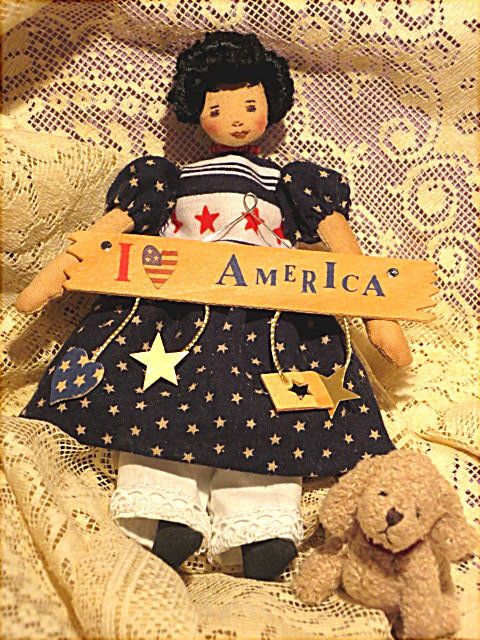 "One of my one-of-a-kind 6 1/4"" Hitty dolls comes to you with wooden sign and puppy.  She is cloth, wired, needle-sculpted, penned...mock garters and painted boots.  Drop waist underclothing.  Barb's Originals."