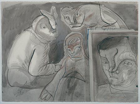 José Luis Cuevas – Autorretrato, página de estudio para intolerancia.  1983, Dibujo a tinta china, aguada y acuarela sobre papel colibrí | Museo José Luís Cuevas