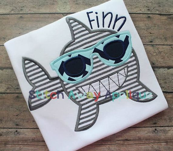 Summer Sunglasses Shark Machine Applique by StitchAwayApplique