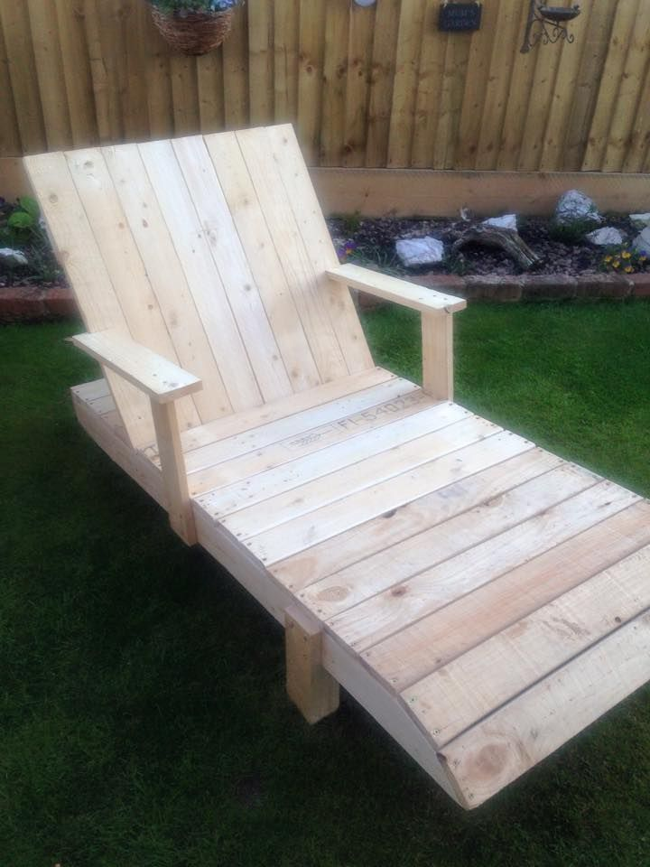 Pallet Lounge Chair with Armrest 101 Pallet Ideas back yard ideas