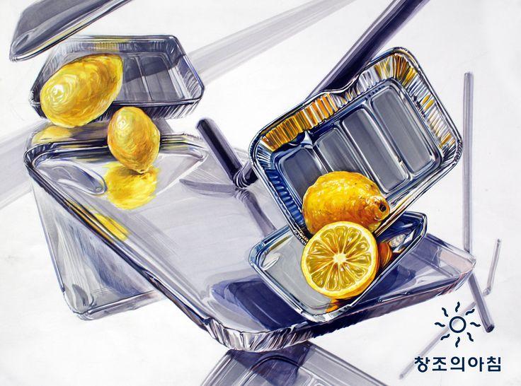 기초디자인 건국대 기디 건대 입시미술 기초디자인 일러스트 디자인 레몬 은박접시 빨대