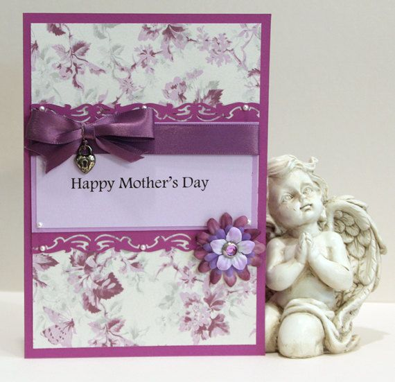Handmade mother 39 s day card purple flowers mom mum wife for Classy mothers day cards