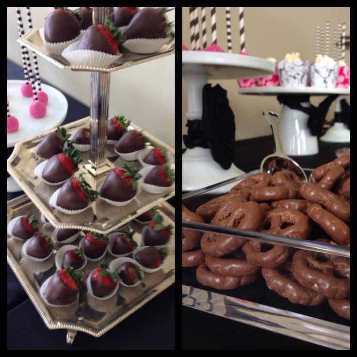 Black white and fuchsia theme candy bar