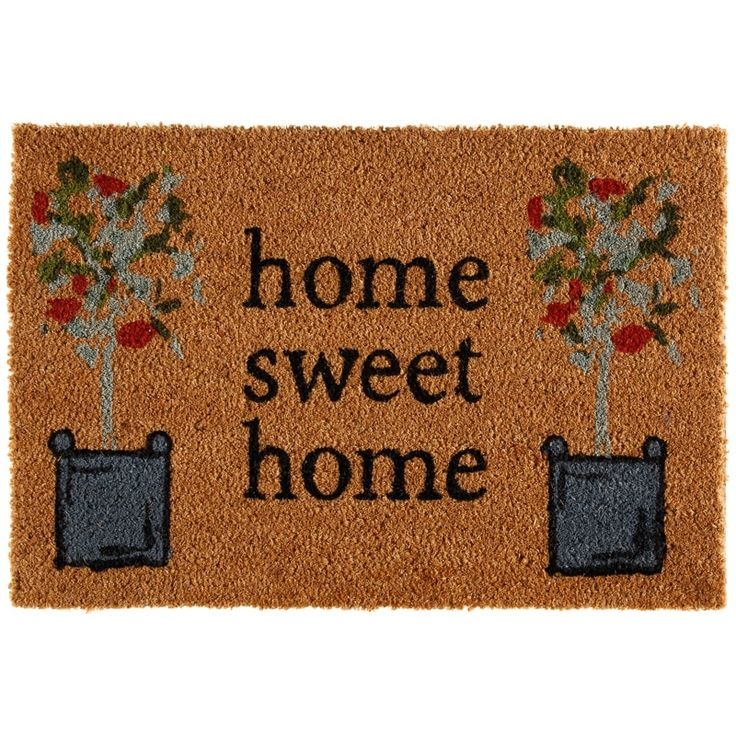 Printed Coir Doormat 40 x 60cm - Home Sweet. This coir doormat is great for stopping wet or muddy footprints. Homeware essentials at B&M stores