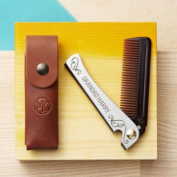 Personalised Man Comb With Leather Case