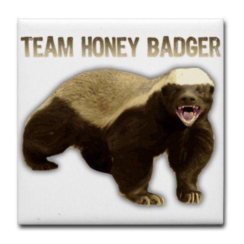 TEAM HONEY BADGER Humor Tile Coaster by CafePress . $10.50