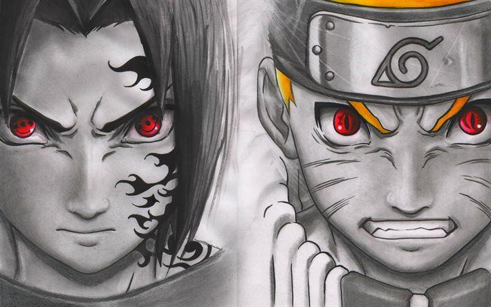 Download wallpapers Uchiha Sasuke, Uzumaki Naruto, Manga, Naruto, choko tomoe, ninja