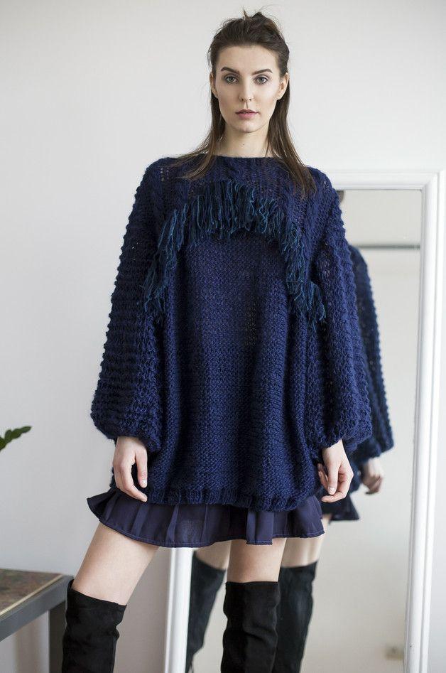 SWETER Z MOTYWEM WARKOCZY I FRĘDZLAMI - zaworskaanna - Swetry i bezrękawniki