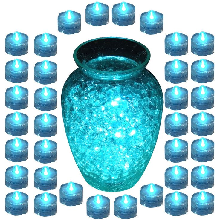 This set of 36 TEAL submersible LED tea lights is the perfect lighting for any special occasion or event such as parties, events and especially for Weddings!!