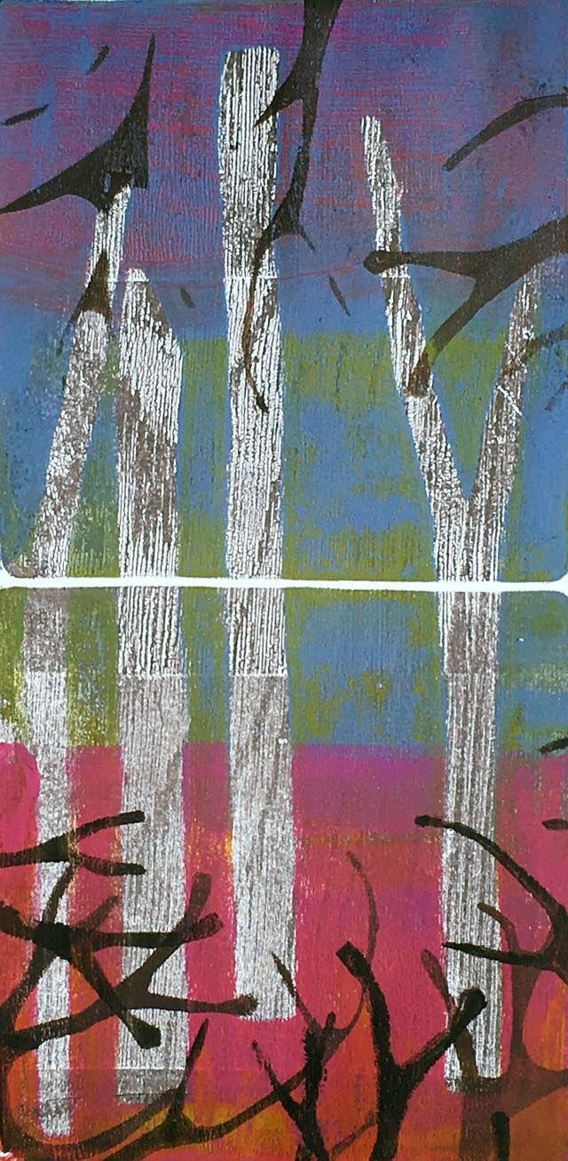 Fantasy forest by #louisegillardart @gelliarts #gelliplate #monotype
