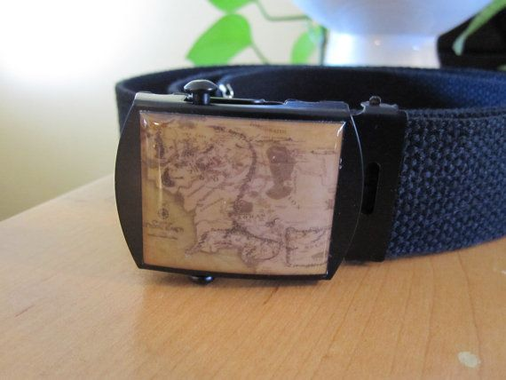 Map Of Middle Earth Belt and Buckle by stellarcustomimages on Etsy