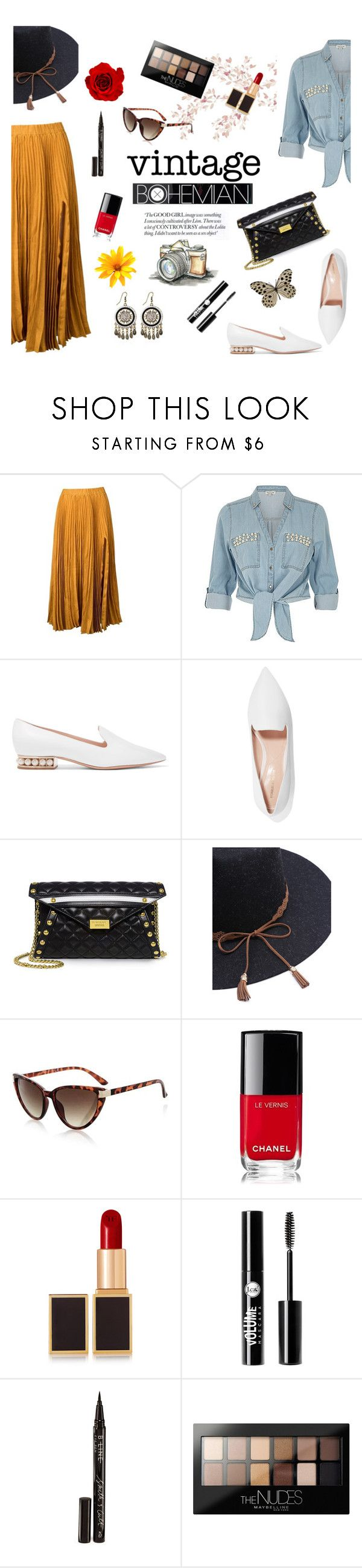 """""""Vintage Bohemian"""" by ravenclaw-phoenix on Polyvore featuring Kaelen, ZAK, Nicholas Kirkwood, Boutique Moschino, Topshop, Chanel, Tom Ford, Charlotte Russe, Smith & Cult and Maybelline"""