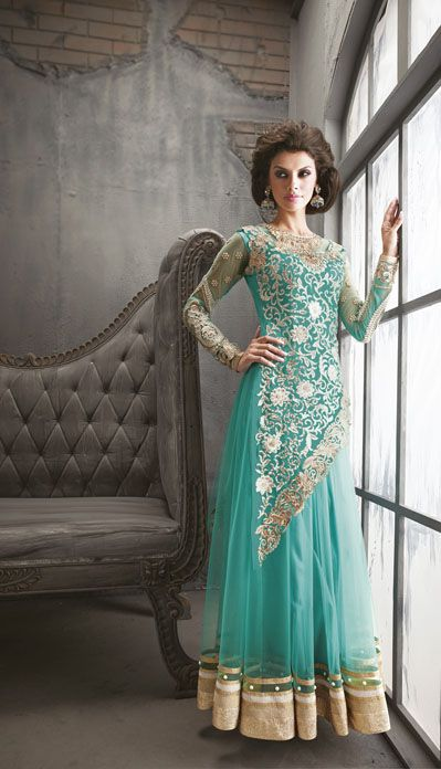 USD 131.67 Teal Blue Net Resham Work Floor Length Anarkali Suit 34922