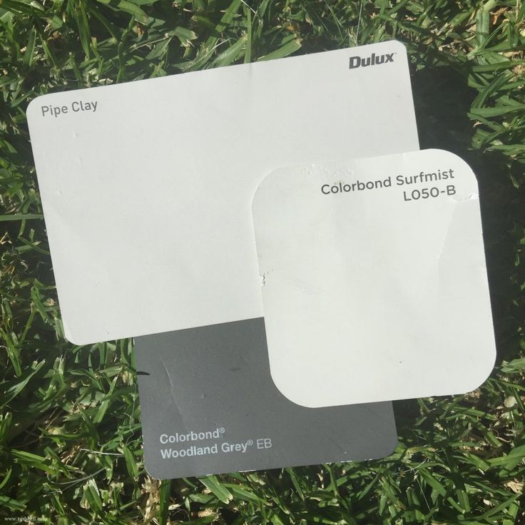 choosing exterior colours - dulux pipe clay, colorbond surfmist and woodland grey