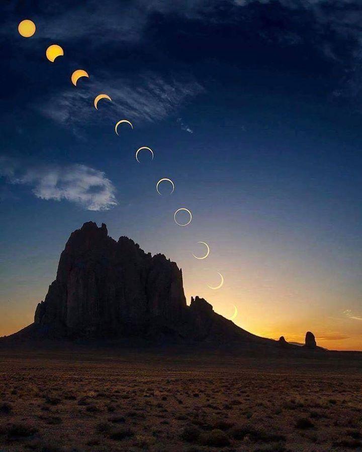 Inanılmaz bir güneş tutulması. Incredible solar eclipse over the time.