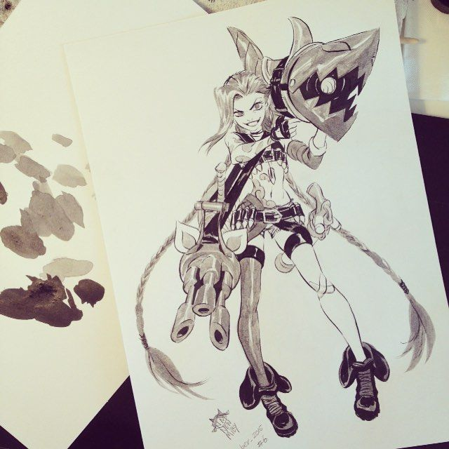 I think I'm going little late haha #inktober2015 #day6 #jinx #leagueoflegends #fanart