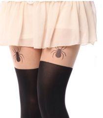 Bayan ince örümcek  desenli dövmeli külotlu çorap