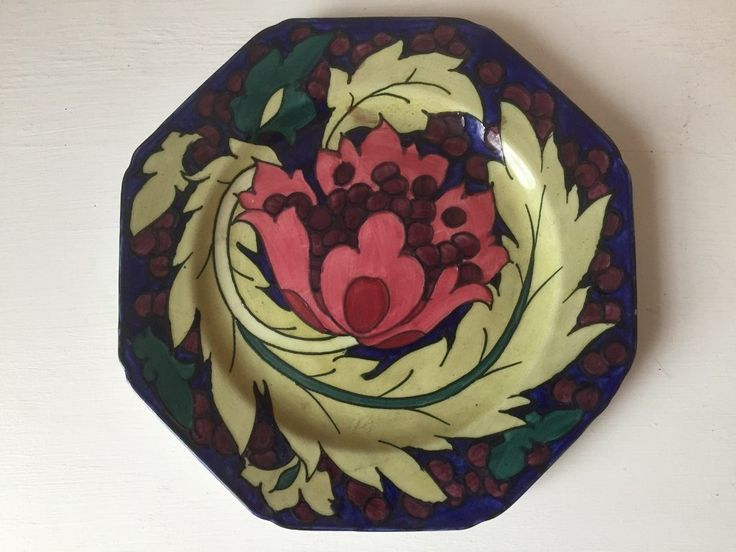 Charlotte Rhead Bursley Ware Hexagonal Plate - Seed Poppy
