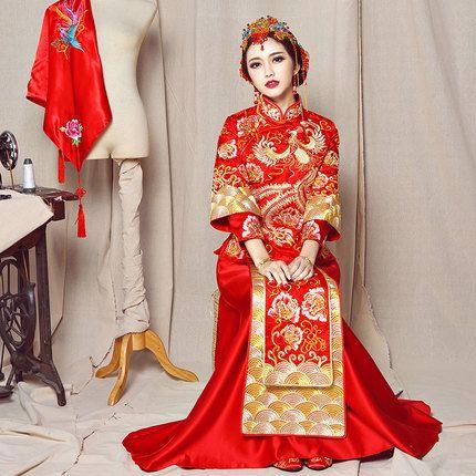 秀禾服新娘礼服嫁衣喜服中式婚纱礼服敬酒服秀和服裙褂龙凤褂秋冬
