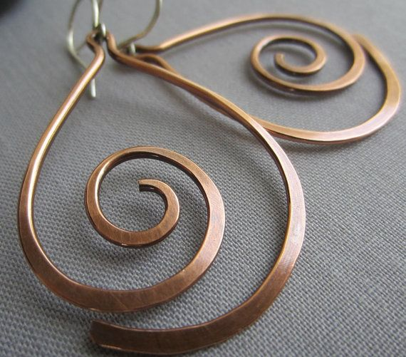 Copper Hammered Earrings/ Copper Wire Earrings/ Big by mese9