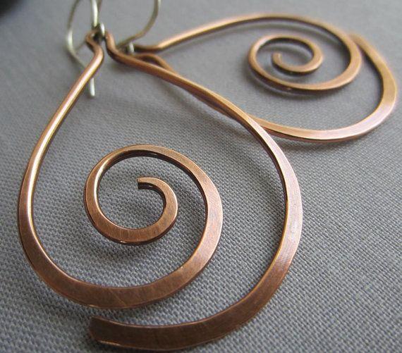 SALE 20%OFF/ Copper Hammered Earrings/ Copper Wire Earrings/ Big Copper Earrings/Artisan Earrings/ Tribal Earrings