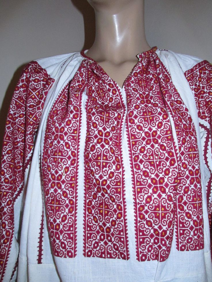 Antique Romanian Peasant Blouse Dress Red Hand Embroidered and Beaded Size L | eBay