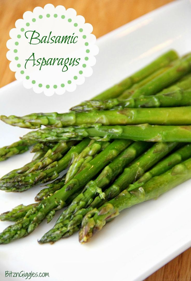 Steamed and then broiled for just a couple minutes, this Balsamic Asparagus turns out perfect every time! {BitznGiggles.com}
