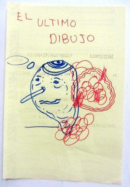 Artista: Ricardo Muñoz Izquierdo, El Último Dibujo, dibujo sobre papel, 8x12cm, + PA.   Artist: Ricardo Muñoz Izquierdo, The Last Drawing, drawing on paper , 8x12cm , + PA .