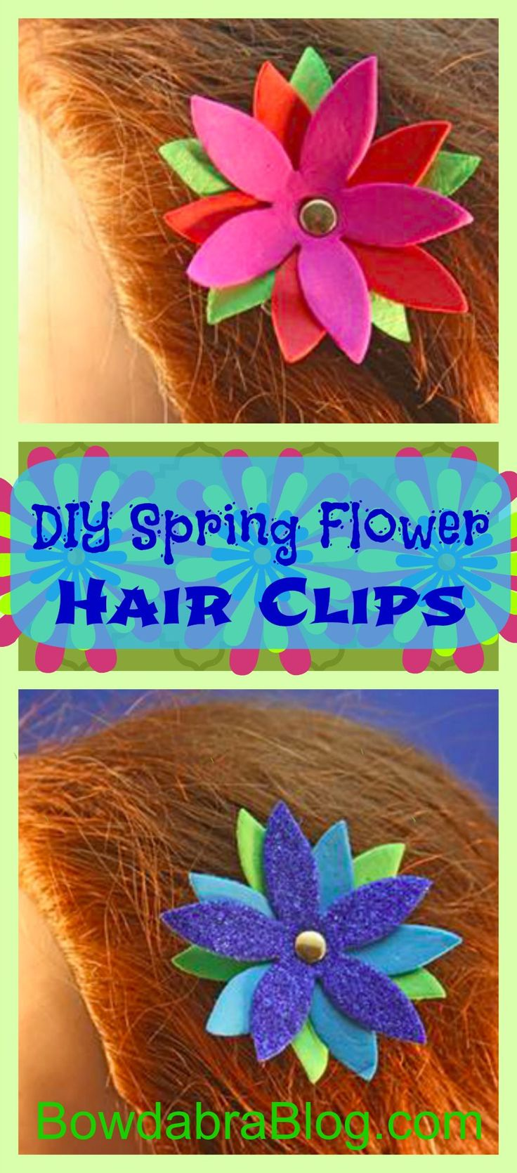 Memory foam for crafts - Spring Flower Hair Foam Clips