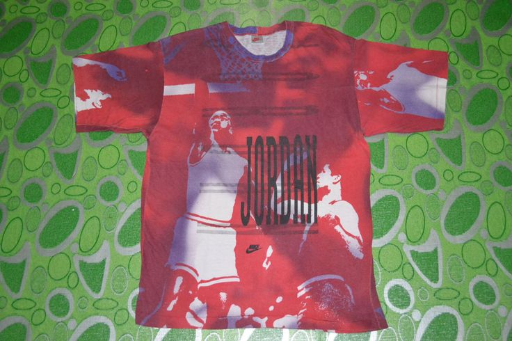 Vintage 80s NIKE Michael Jordan basketball original full print gray tag very rare T-shirt by OldSchoolZone on Etsy https://www.etsy.com/listing/190276256/vintage-80s-nike-michael-jordan