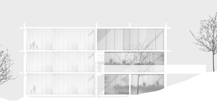 """Imberg Arkitekter - Proposal for """"Barnrum"""" - A space for children in Stockholm. West elevation."""