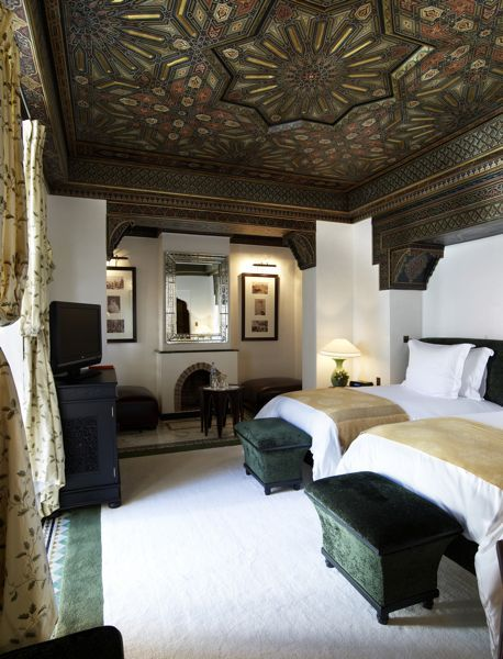 Gorgeous bedroom at the Mamounia Hotel in Marrakesh, Morocco. What a ceiling!