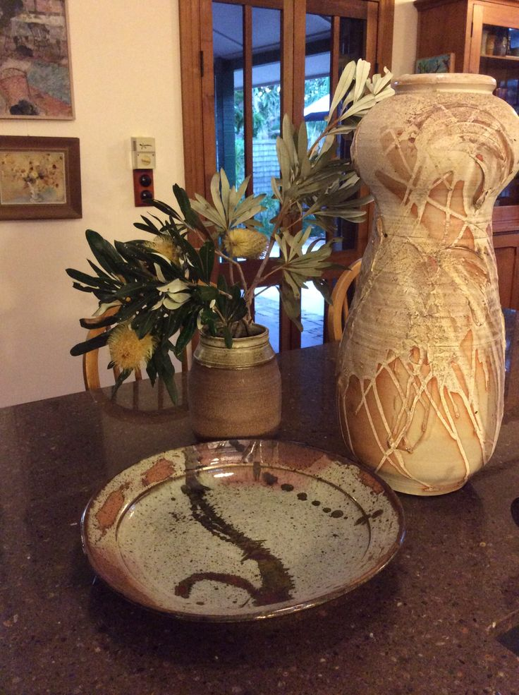 Mid Century style ceramics by Albert Verschuuren, Stanthorpe, Australia. Retro style, contemporary pottery. Banksia wildflower display.