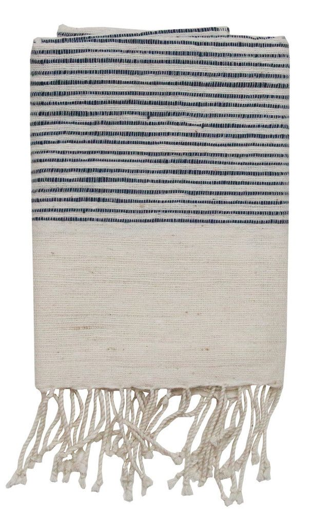 "By Creative Women Soft, natural hand towels with ribbed ends are a classic complement to any style. Hand-spun cotton, handwoven in Ethiopia. 21""x27""100% cotton."