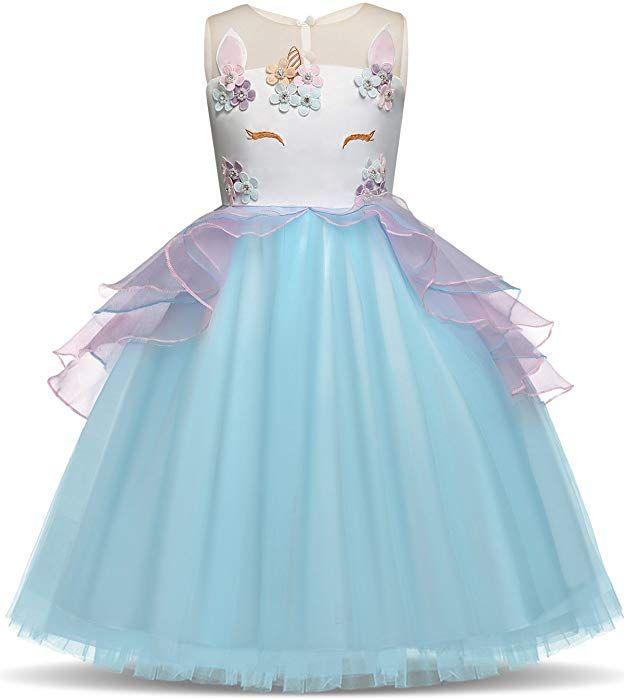 GRATIS Haarreif und Kette S La Senorita Einhorn Kleid Unicorn Kleid 3//4 Jahr Tutu Kinder Kost/üm Prinzessin Kleid Regenbogen Verkleidung M/ädchen Gr/ö/ße 104//110