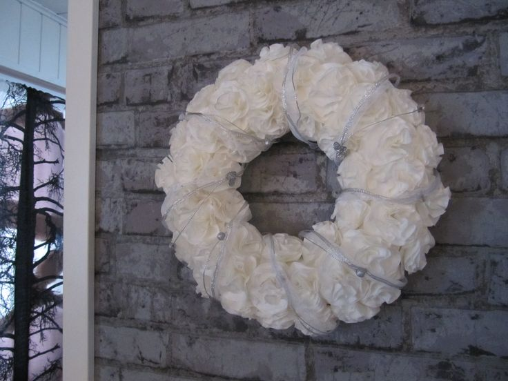 Diy filter bag rose wreath,