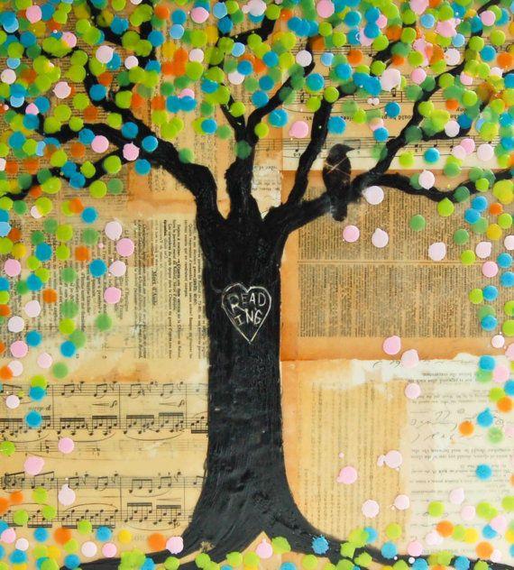 READING Tree Original Encaustic Mixed Media by susannajarian
