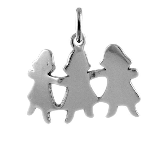 Sterling Silver Kids Paper Cut Out Charm- to symbolise my 3 beautiful sisters