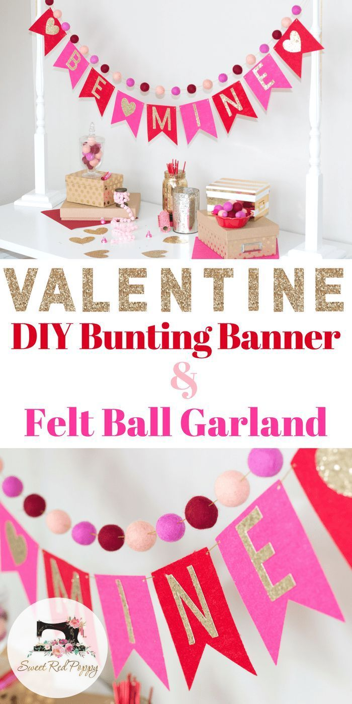 Learn how to make this adorable Valentine's Day Bunting Banner and Felt Ball Garland! #cricut #valentinescraft