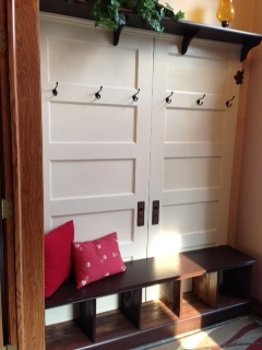 Found Old Doors Repainted Them To Use In Front Entry, Added Bench Seat With  Cubbyholes For Shoes Coat Hooks, Put Shelf On Top.