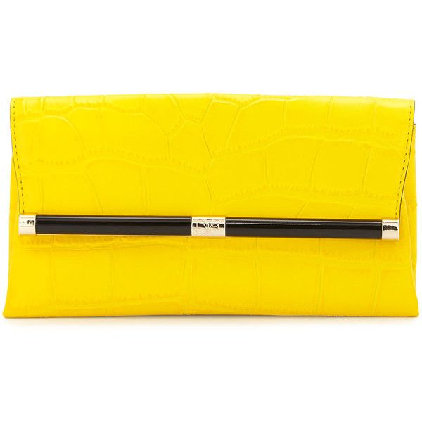 Diane Von Furstenberg 440 Croc-Embossed Leather Envelope Clutch Bag ($248) ❤ liked on Polyvore featuring bags, handbags, clutches, purses, yellow, studded purse, evening purse, envelope clutch, genuine leather handbags and studded leather handbag