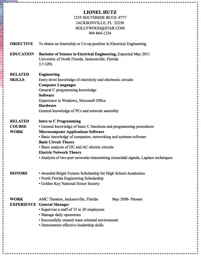 Sample Entry Level Office Resume -    exampleresumecvorg - entry level electrical engineer resume