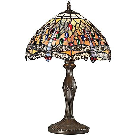 Dimond Dragonfly Bronze Tiffany Glass Table Lamp