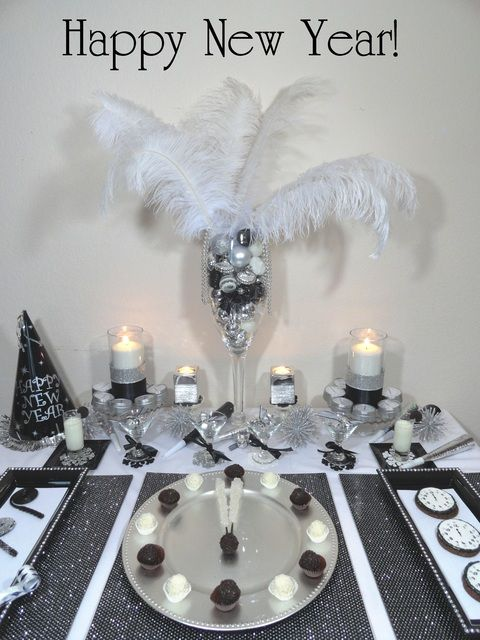 Black white and silver new year 39 s party ideas - Black silver and white party decorations ...