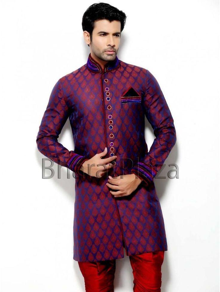 Afghani Pakistani Indian Designer Wedding Indo Western Sherwani Long Coat #BharatPlaza #DesignerIndoWestern