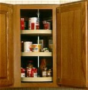 The full circle polymer lazy susans are ideal for diagonal wall cabinets  With dependently rotating shelves