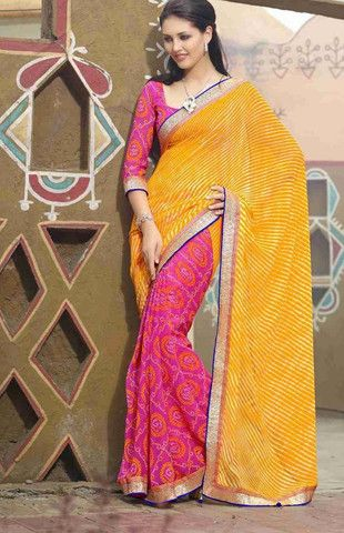 Yellow and Pink Color Georgette Special Occasion Sarees : Nakkshatra Collection YF-22546