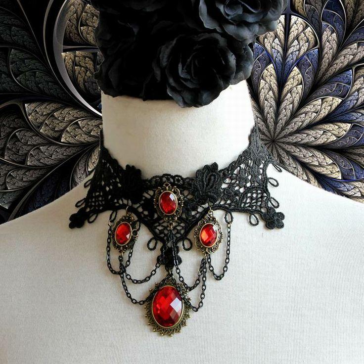 Collar Black Lace Alloy Pendant Vintage  #1 Discount Online Shopping @ www.e1Necklace.com